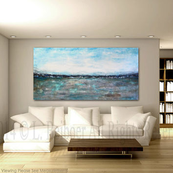 "Large landscape painting original 72"" abstract art 6ft white blue modern abstract oil painting by L.Beiboer FREE Shipping"