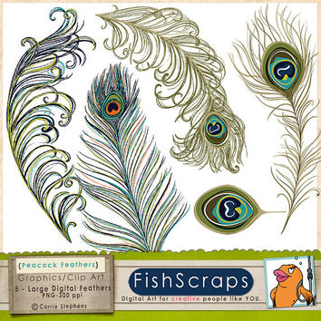 Peacock Feather Clip Art for Personal & Commercial Uses, Creative Wedding Invitations DIY Graphics