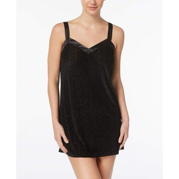 Flora by Flora Nikrooz Bobbi Burnout Sheer Velvet Chemise T80668 Black Medium