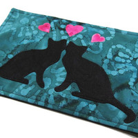 """Cats in Love Mug Rug - great for coffee cup and snack - 6"""" x 9"""" - Mug Mat / Coaster"""