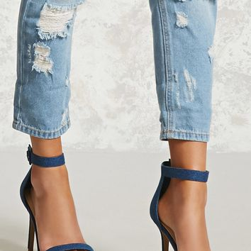 Denim Ankle-Strap Stilettos