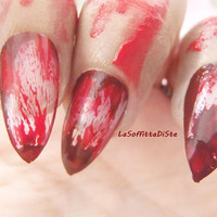 halloween bloody nails witch vampire zombie blood werewolf fake nails wolf claws stiletto nails costume uñas quirky cosplay lasoffittadiste