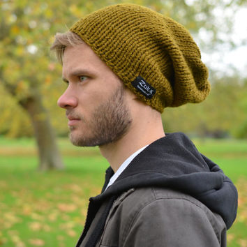 Men's Knitted Hat Hand Knit Hat Slouchy Beanie Teen Hat Winter Accessories Olive Green