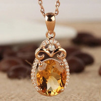 design!citrine pendant necklace solid 14kt yellow gold,real diamond citrine pendant 585 yellow gold for sale