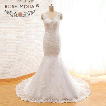Rose Moda V Neck Mermaid Wedding Dress Sybil Low V Back Alencon Lace Wedding Dresses Real Photos
