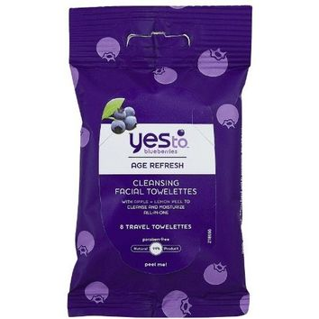 Yes To Blueberries Cleansing Facial Towelette, 8 ct, Travel Size