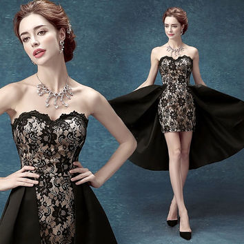 2015 New Arrive Black Short dress Sweetheart Prom Dress/ wedding Dress/ Evening Dress/ Bridesmaid Dress. Skirt/ Black Skirt