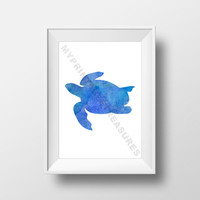 Turtle Room Art, Ocean Theme Printble Wall Art , Instant Download , Aquarium Nursery , Animal Silhouette Watercolor Print