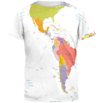 World Traveler Global Map All Over Adult T-Shirt