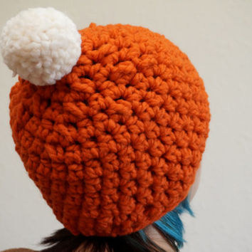 orange beanie, pumpkin spice, pom pom beanie, wool beanie, halloween beanie, crochet hat / THE DYNIA / Pumpkin & Cream / Ready to Ship!