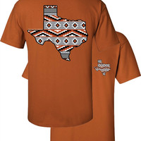 Southern Couture Texas Aztec State Pattern Orange Girlie Bright T Shirt