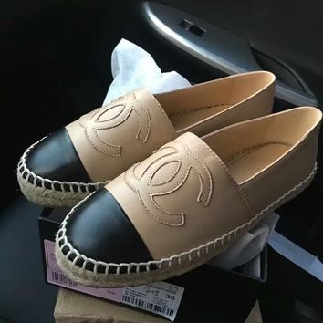 """""""Chanel"""" Women Fashion All-match Casual Multicolor Sheepskin Weave Fisherman Shoes Loafer Flats Shoes Genuine Leather Single Shoes"""