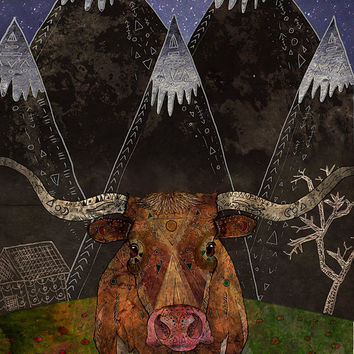 Starry Night - Giclee Print /// Texas Longhorn Print, Cow Art Print, Rustic Wall Art, Ranch, Farmhouse, Western, Mountains, Animal Prints