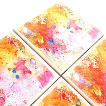 Ceramic Tile Coasters Rosie Brown Pink Abstract Drink Set