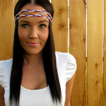 Bohemian Patriotic Fourth of July Braided Red, White, Blue Suede Leather Cord Dual Fashion Woman Girl  Wrap Headband w/ Elastic & Ribbon