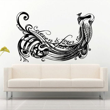 Wall decal art decor decals sticker peacock bird beauty tail feather bedroom design mural eleven four (m929)