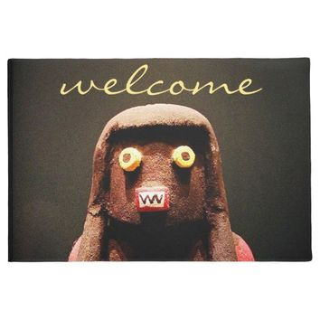 """Welcome"" cute little fun silly face photo doormat"