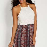 lace top dress with ethnic printed skirt | maurices