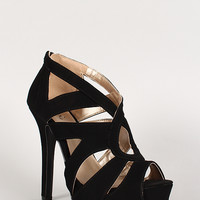 Qupid Nubuck Cut Out Open Toe Platform Heel
