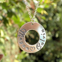Name Disc Necklace - Two Names Sterling Silver Pendant