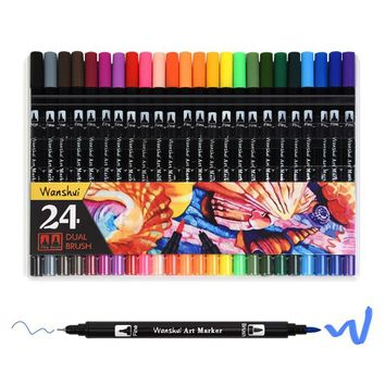 24 Colors Professional Watercolor Dual Tip Brush Fineliner Pen Set Fine Point Art Marker Student Stationery for Drawing Coloring