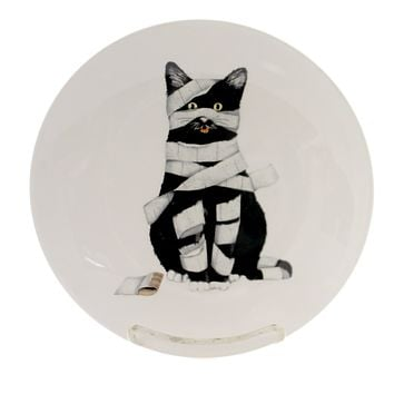 Tabletop HALLOWEEN ACCENT PLATE Stoneware Black Cat Toilet Paper Hx1758a Mummy