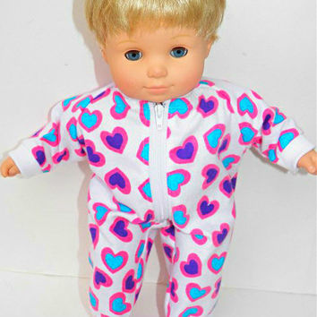 """bitty baby clothes Handmade For Twin Girl or Baby Doll 15"""" Pajamas Pjs Sleeper Flannel Zip White Pink Turquoise Purple Heart Valentine's Day"""