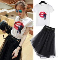 White Lip Patchwork T-Shirt and Black Pleated Mesh Midi Skirt