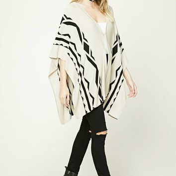 Contemporary Geo Print Poncho