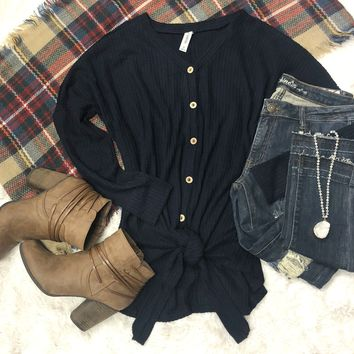 From Now On Waffle Tie Top: Navy