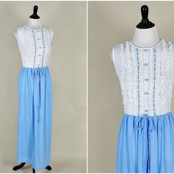 baby blue & white sheer two tone victorian babydoll lace tuxedo ruffles lolita  olly nightgown maxi dress vintage 1960s