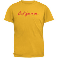California License Plate Gold Adult T-Shirt