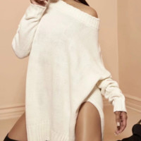 Women's sweater autumn and winter new retro sexy low round neck side slit sweater dress