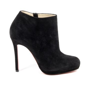 Christian Louboutin Womens Black Suede Ankle Boot