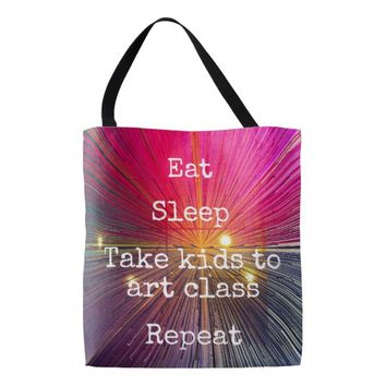 """Eat Sleep Repeat, Art Class"" quote pink tote bag"