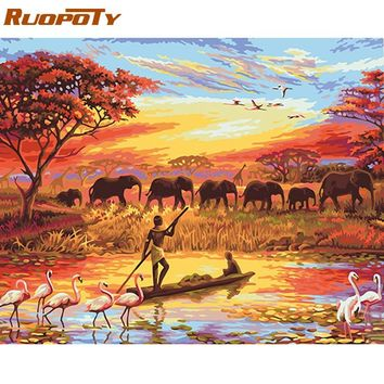 RUOPOTY Frame Picture Elephant Diy Painting By Numbers Landscape Modern Wall Art Acrylic Canvas Painting For Home Decor 40x50cm