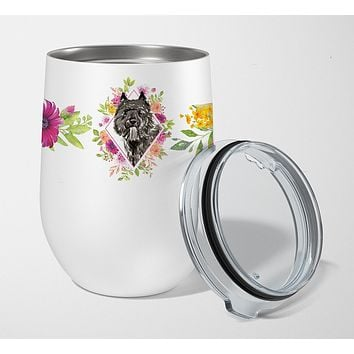 Bouvier des Flandres Pink Flowers Stainless Steel 12 oz Stemless Wine Glass CK4256TBL12