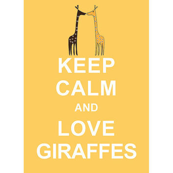 $10.80 Keep Calm and Love Giraffes  Pastel Yellow / by simplygiftsonline