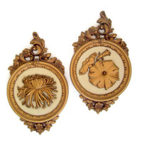 Mid Century Vintage 1977 Hollywood Regency Molded Plastic Wall Plaques by Dart Gold Color