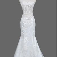 Trumpet/Mermaid Court Train Lace Tulle/Lace Wedding Dress