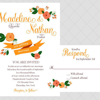 Hand Painted Wedding Invitation Style - Large Flower, Floral, Botannical Wedding Invitation