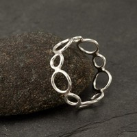 """Handmade Sterling Silver Ring -Silver Circles Ring- Circle Ring Band- Modern Silver Jewelry """"Circle Cluster Ring""""  6, 6.5, 7, 7.5"""