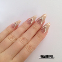 Nude and white french stiletto nails, Nail designs, Nail art, Nails, Stiletto nails, Acrylic nails, Pointy nails, Fake nails, False nails