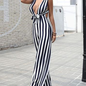 Ready Or Not Black And White Stripe Jumpsuit