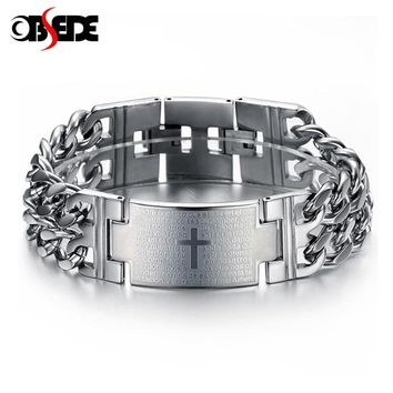OBSEDE Men Punk Lord's Prayer Jesus Cross Bracelet Titanium Steel Bracelets 316L Stainless Jewelry Charm Bangle Chain Wristband