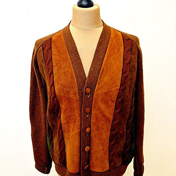 Vintage 90s AMAZING Brown Professor Leather Patch Teacher Jumper Sweater Small