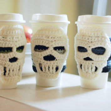 Crocheted Skull Coffee Cup Cozy Travel Cup Sleeve Striped Gift Ideas