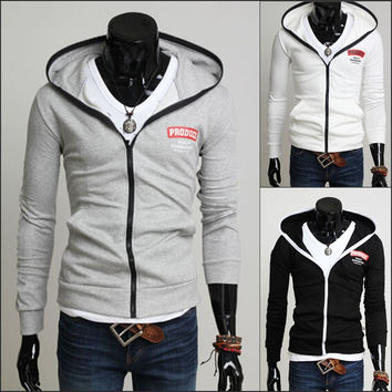 Men's Fashion Hoodies Men Tops Stylish Alphabet Print Slim Jacket [6528649475]