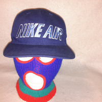 Vintage Nike Air 90s Snapback Bleu hat Spell Out cap Air max Retro LE Foamposite Uptempo Hoops Big Swoosh