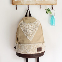 Creme Backpack with Crochet Detail